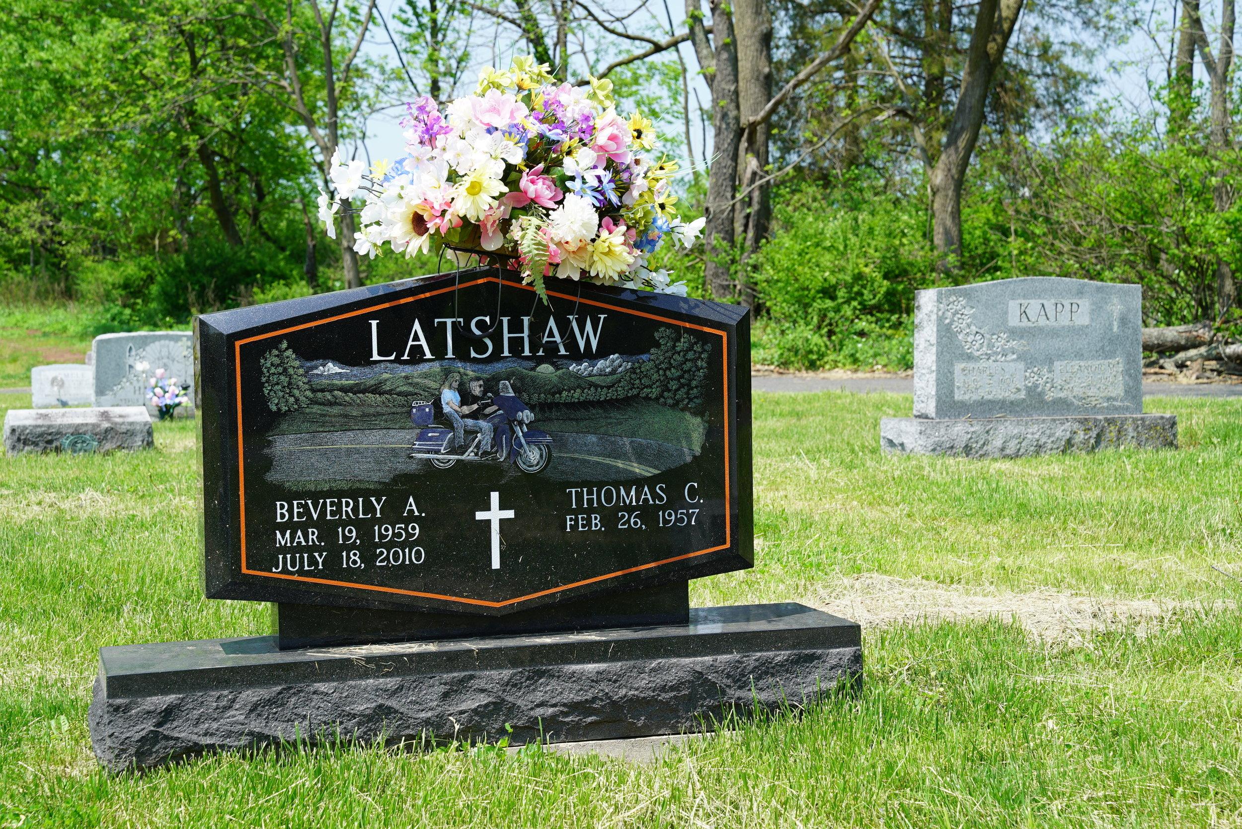 Harley Davidson style tombstone. Holy Cross Cemetery - Pennsburg, Pennsylvania.