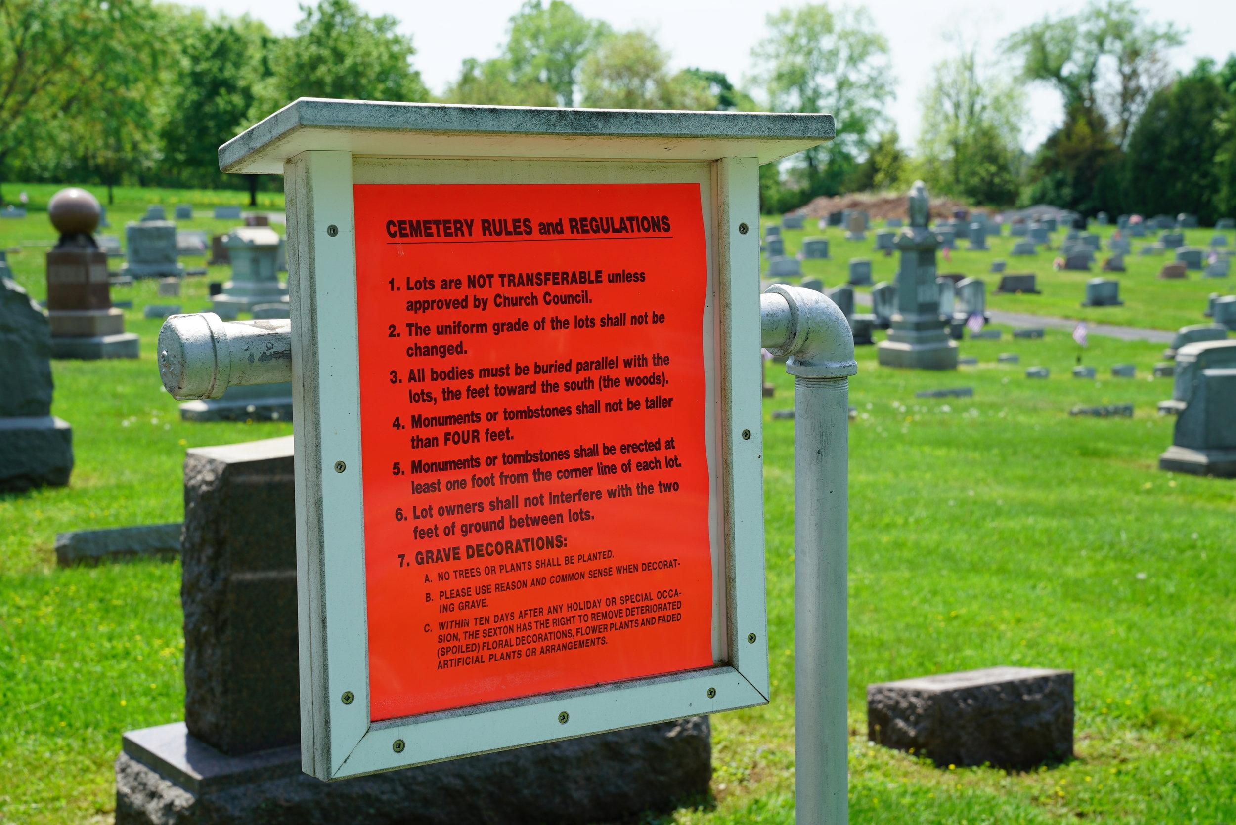 The rules. St. Paul's Lutheran Church Cemetery. Pennsburg area. Montgomery County, Pennsylvania.