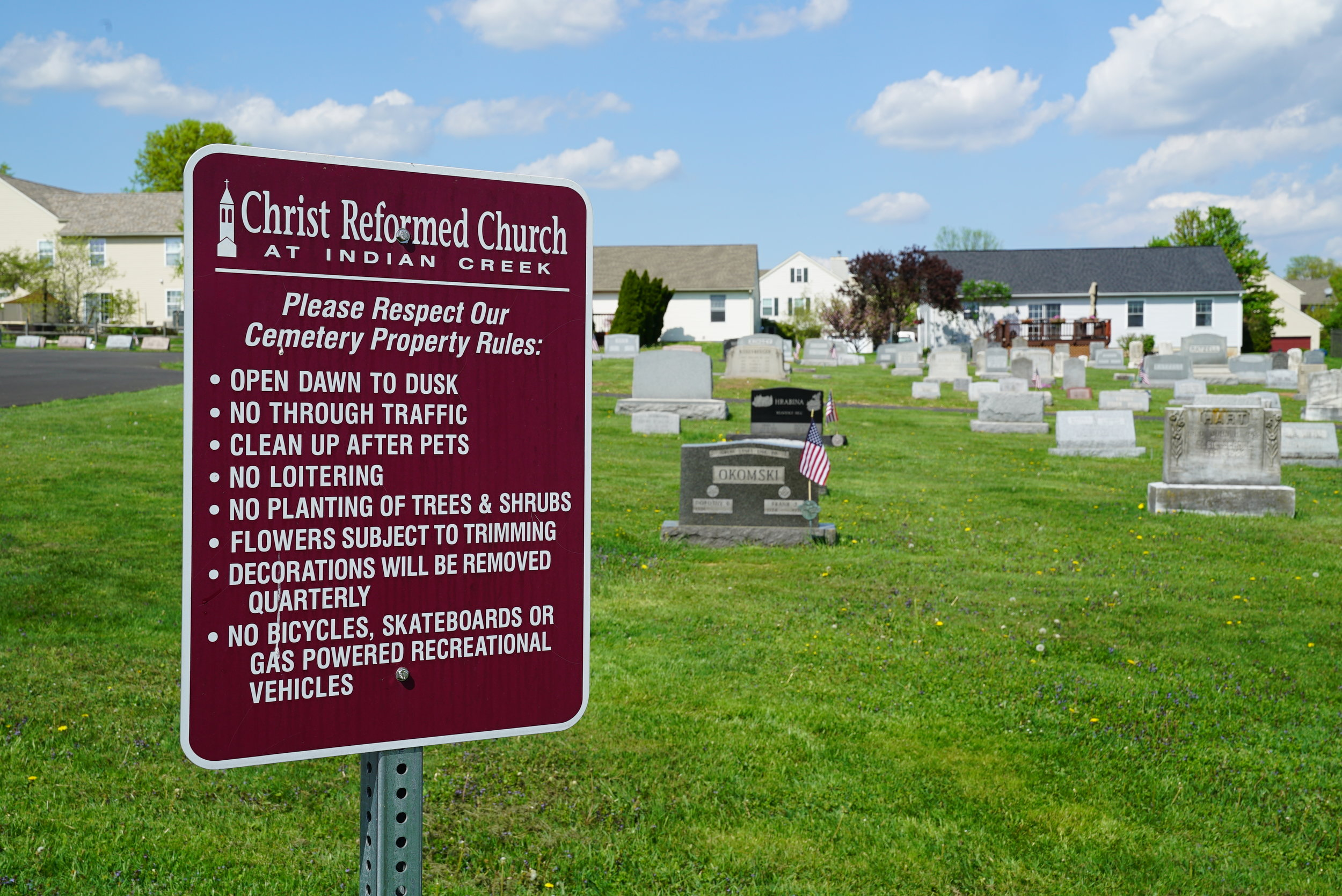 Sign at Christ Reformed Church At Indian Creek Cemetery - Telford, Pennsylvania.