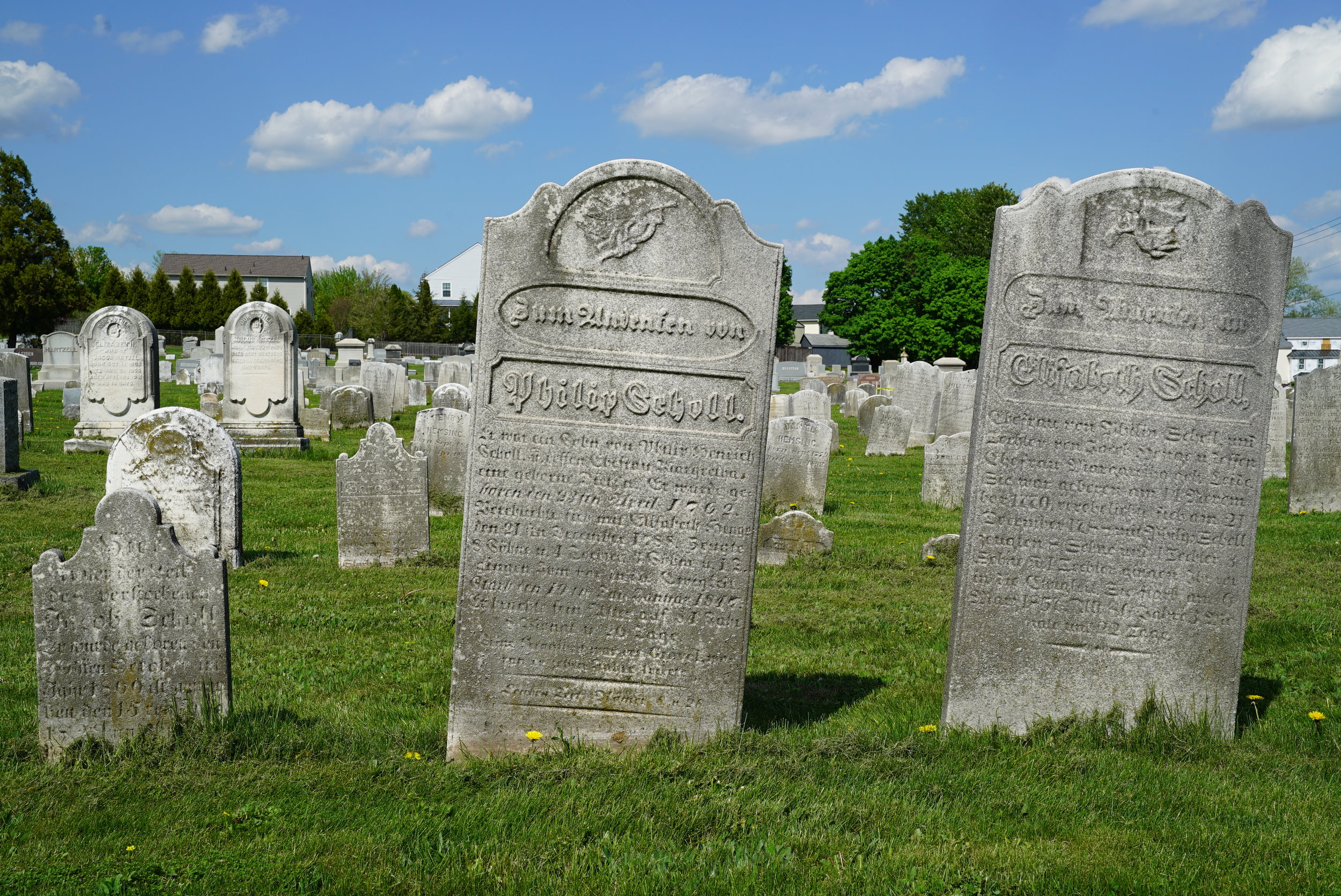 Ancient tombstones can be found at Christ Reformed Church At Indian Creek Cemetery. Telford, Pennsylvania.