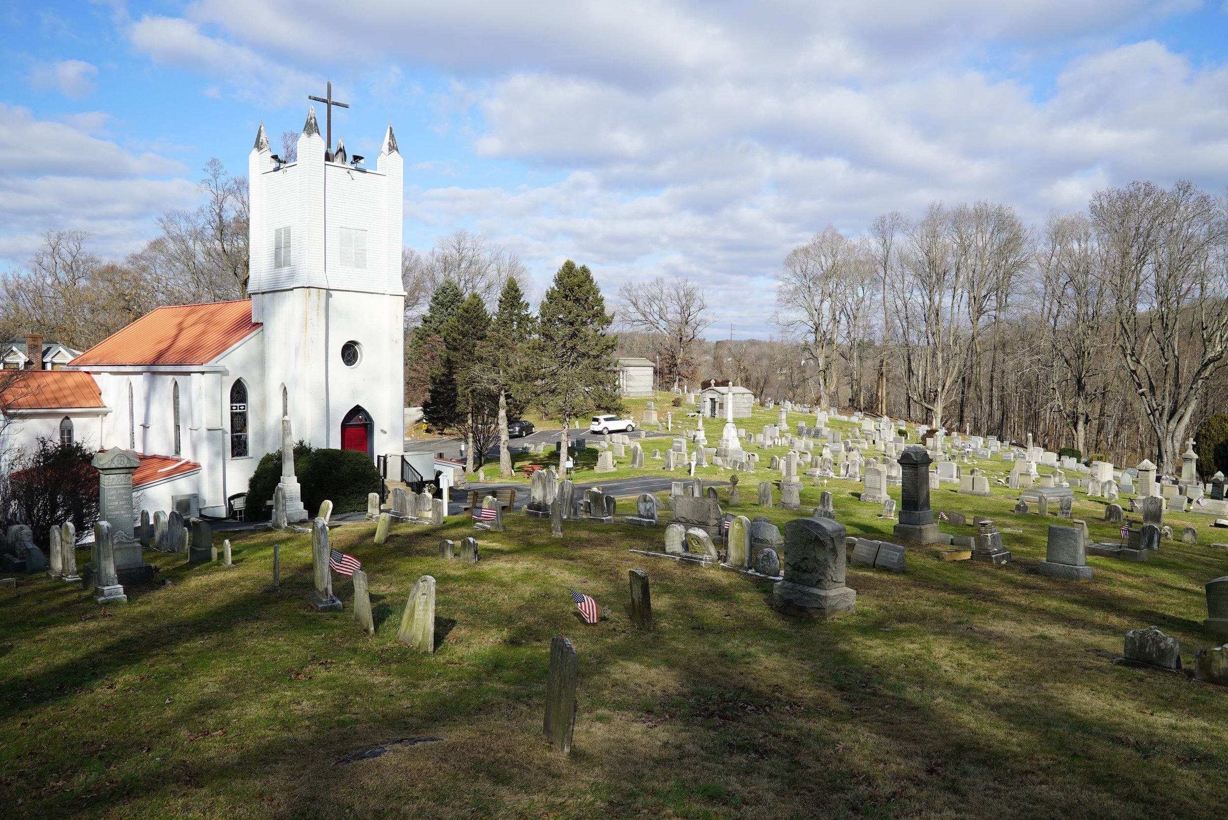 Calvary Episcopal Church Cemetery in the Rockdale section of Aston Township, Pennsylvania. November 29, 2018.