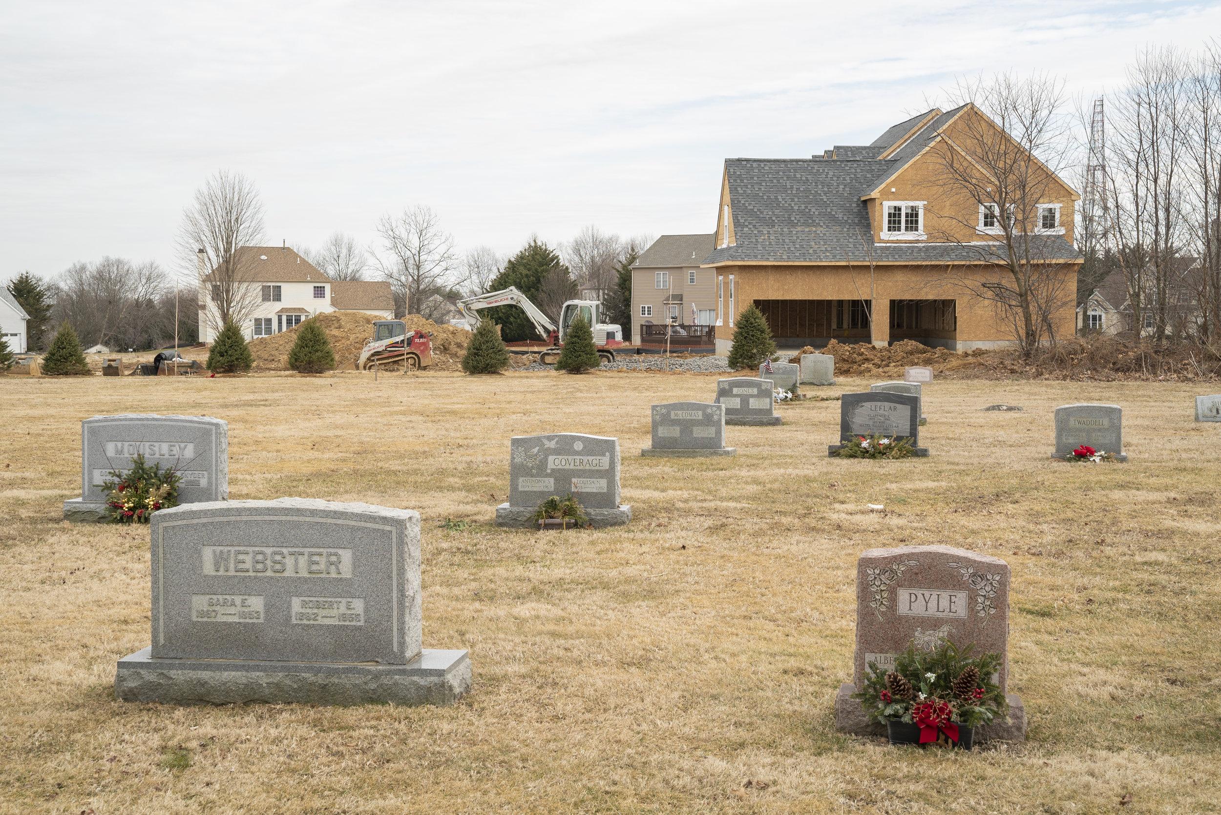 Siloam United Methodist Church Cemetery - Garnet Valley, Pennsylvania. New residential construction. February 27, 2019.