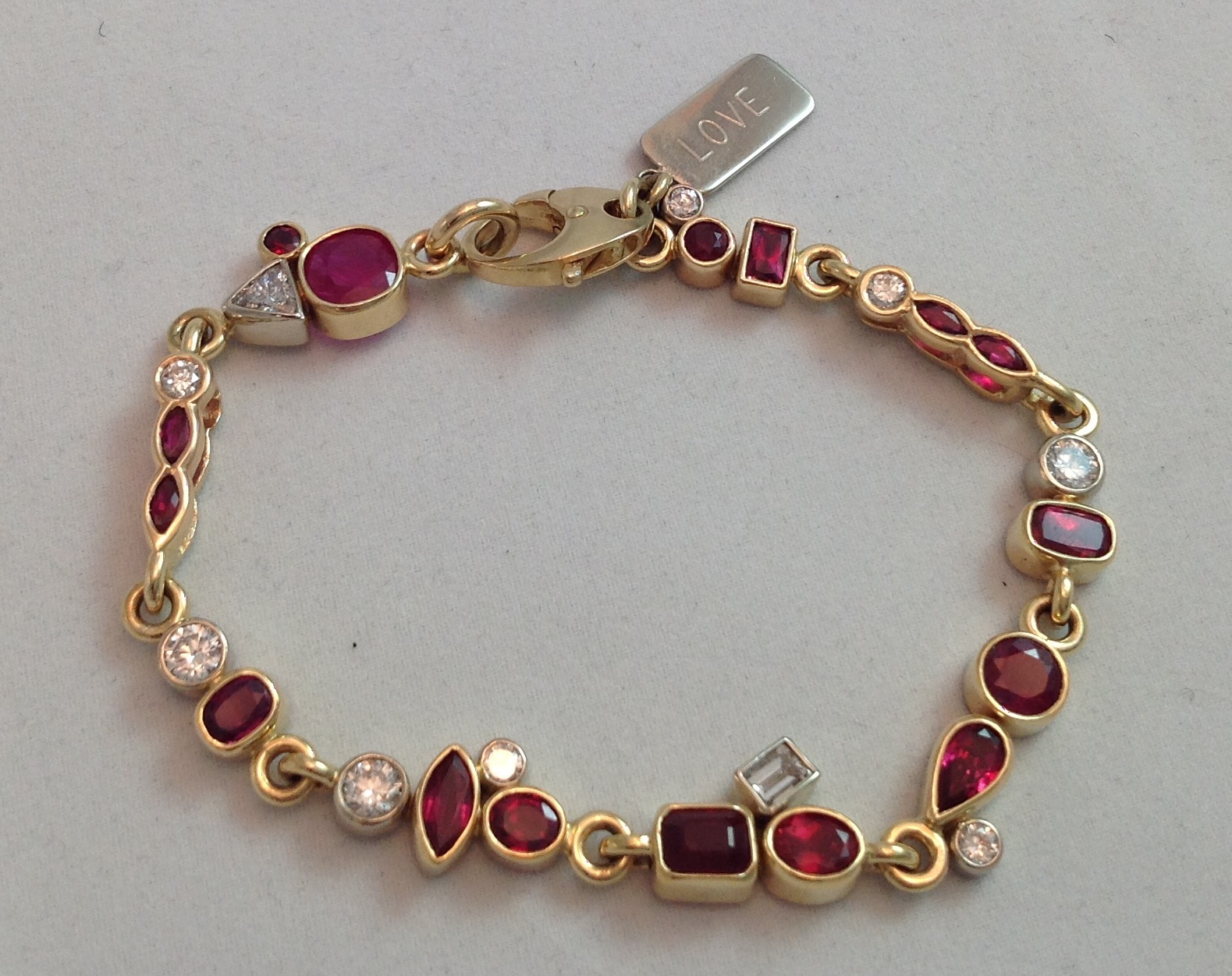 """Love"" Ruby and Diamond  Bracelet"