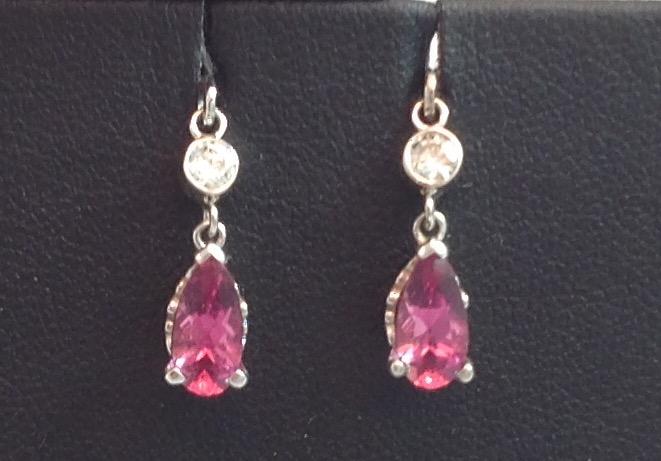 14kt white gold Pink Tourmaline & Diamond Earrings