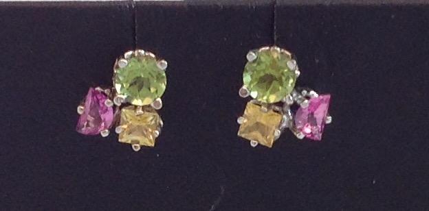 14kt Sapphire/Peridot/Pink Tourmaline Earrings