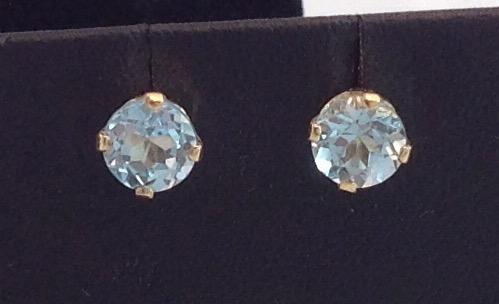 14kt yellow gold 6.0mm Blue Topaz Earrings