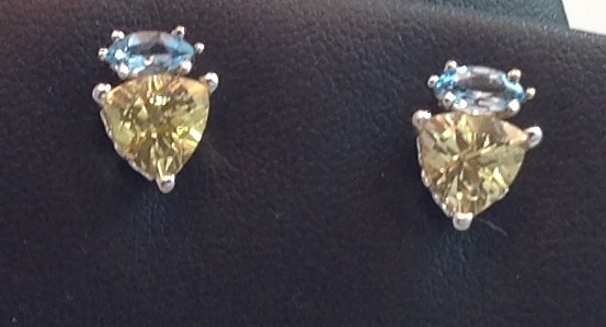 14kt white gold Citrine and Topaz Earrings