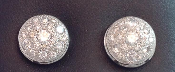 14kt white gold Handmade Pave Diamond Earrings
