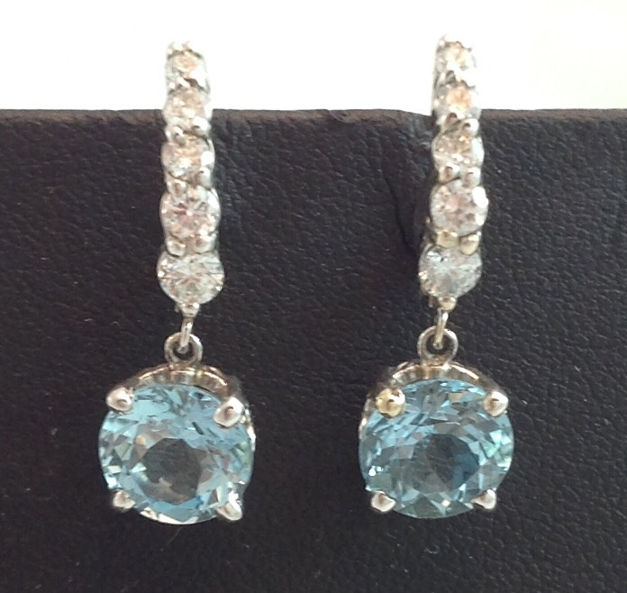 14kt white gold Aquamarine and Diamond Earrings