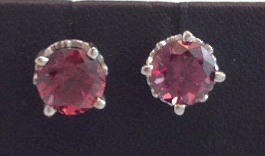14kt white gold Rhodalite Garnet Earrings