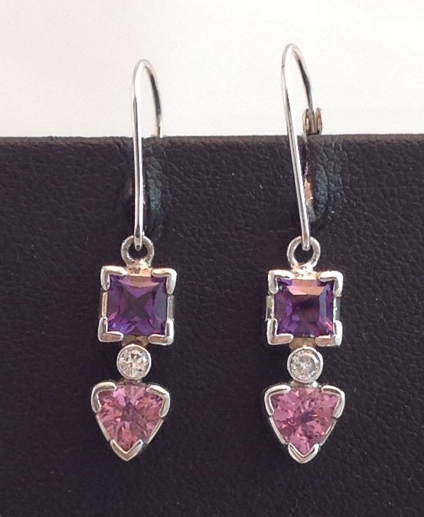 14kt white gold Pink Tourmaline and Amethyst Earrings