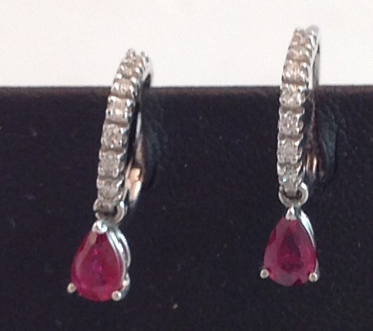 14kt white gold Diamond and Ruby Earrings