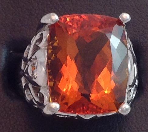 14kt Hand Carved Madeira Citrine Ring