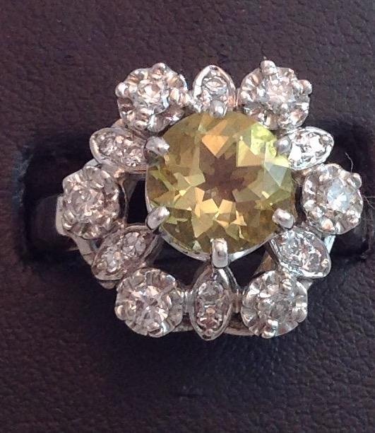 Yellow Citrine & Diamond Ring
