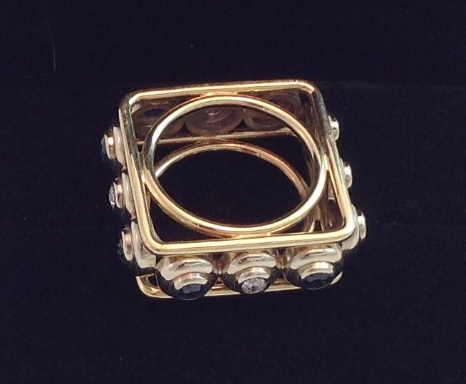 Handmade Square Sapphire & Diamond Ring