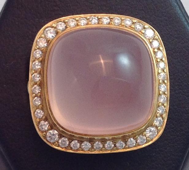 18kt Pink Quartz & Diamond Ring