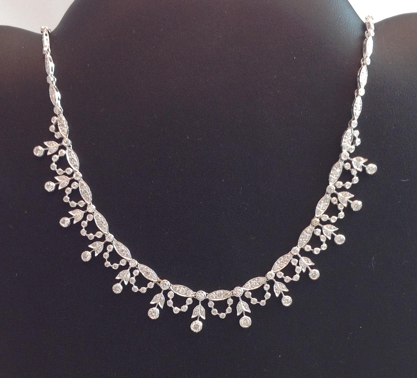 14kt White Gold Diamond Neckpiece