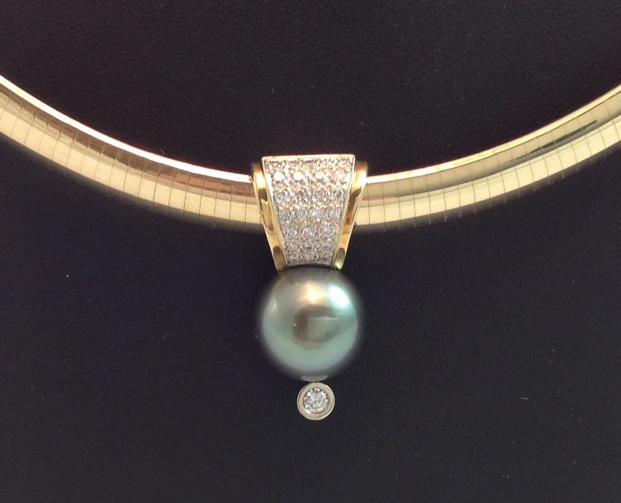 Tahitian Pearl and Diamond Neck Piece