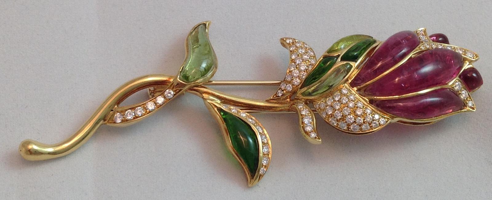 Tourmaline and Diamond Rose Brooch