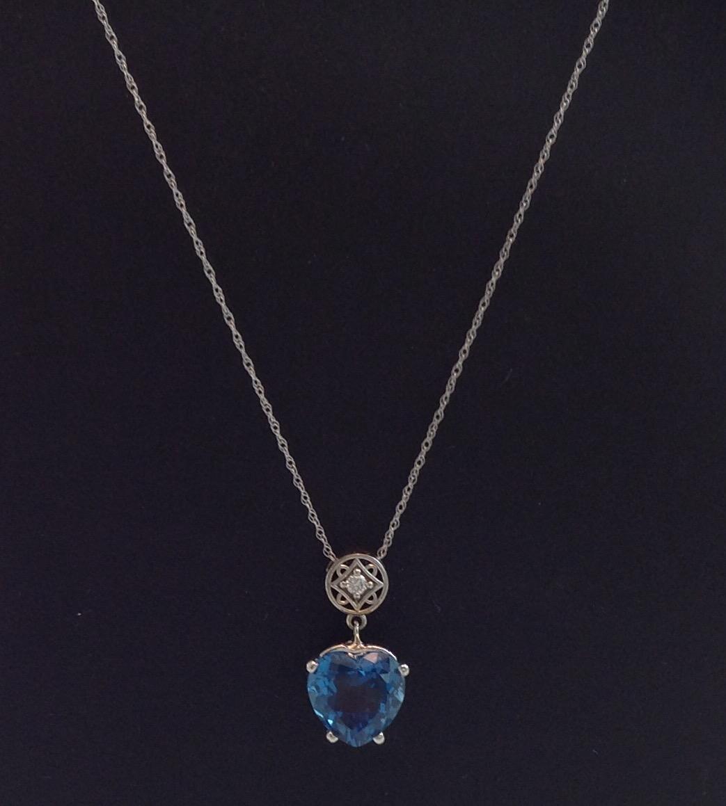 Heart Shape Blue Topaz Pendant