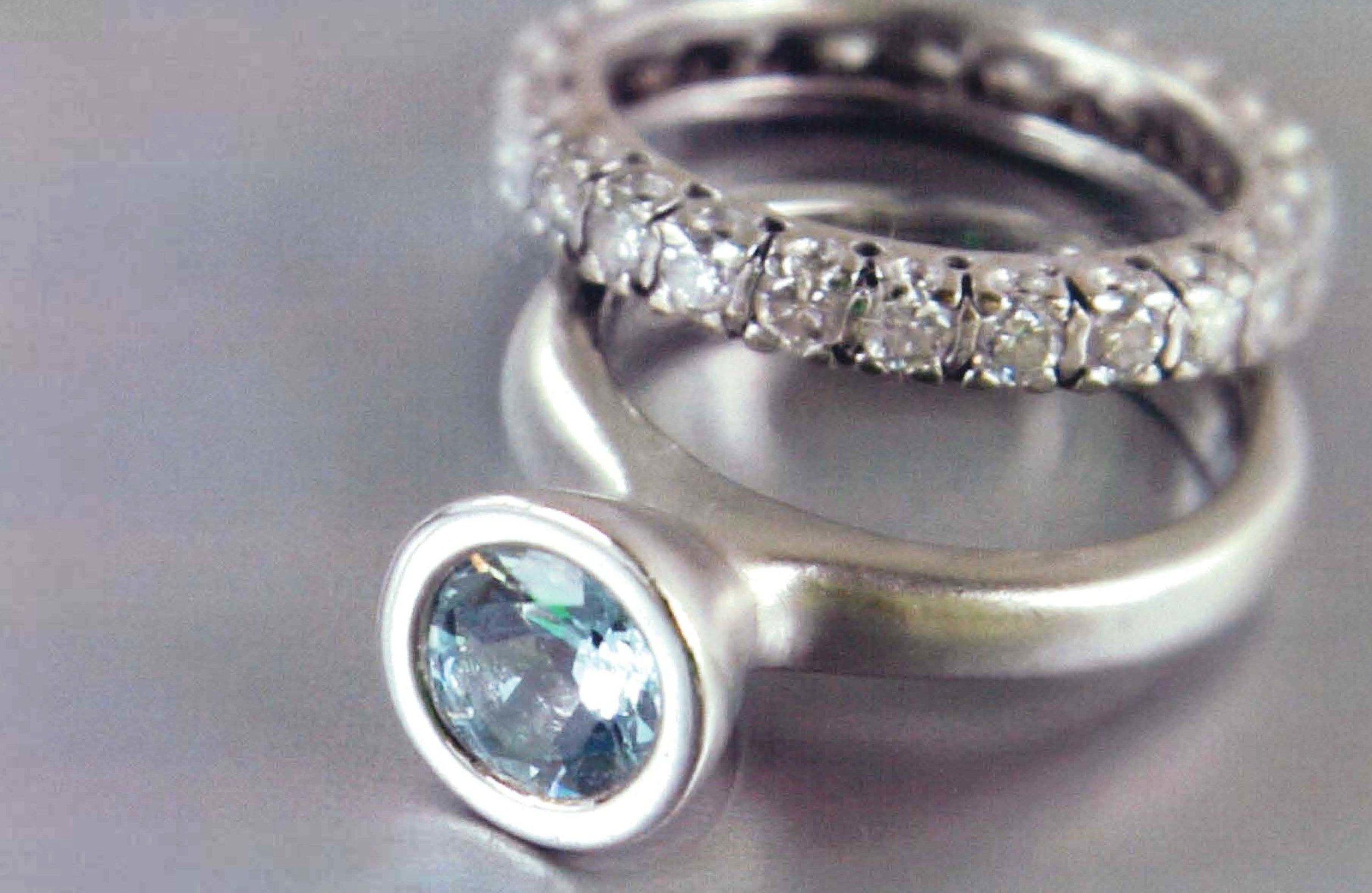 18kt White Gold Eternity Band, Platinum Ring with Aquamarine