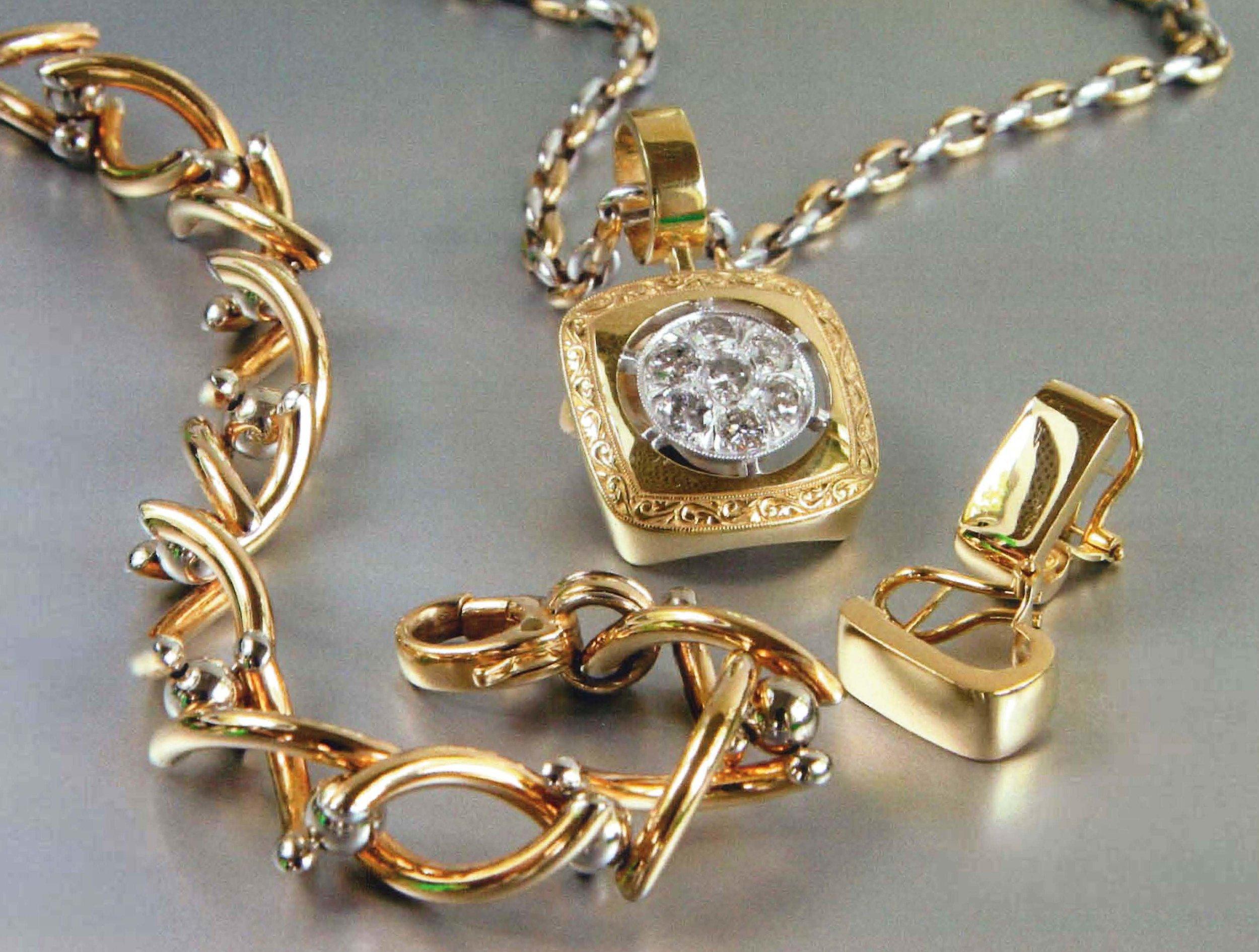18kt YG Earrings, 18kt YG Hand Engraved Pendant, 18kt Twist Bracelet