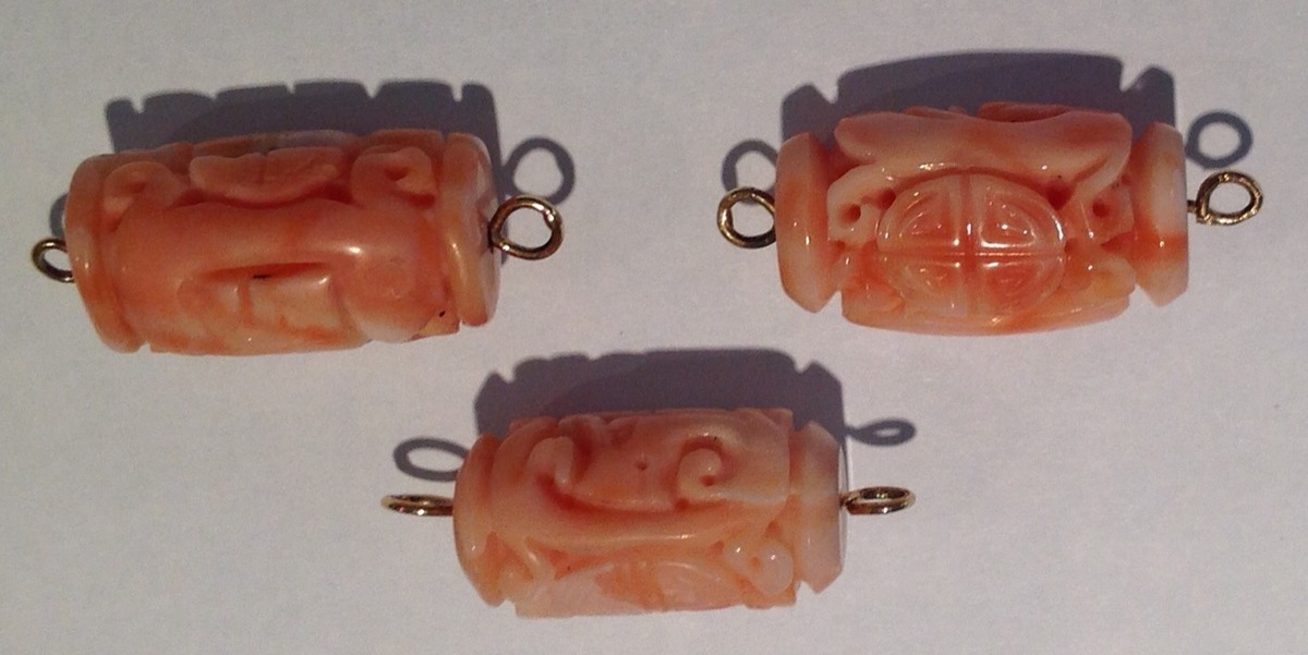 14kt Gold Wire Carved Tubular Beads