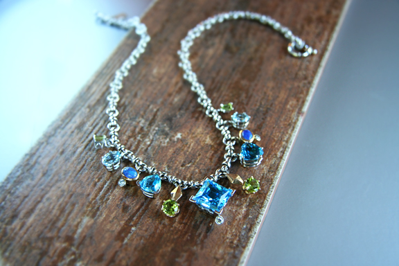 Sex in the City - 14k white gold necklace with blue topaz, opal, peridot and diamonds