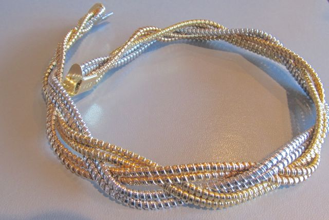 18k tri-gold (rose, white and yellow) interwoven snake necklace