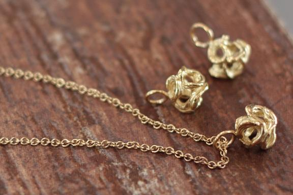 18k yellow gold, handmade baubles