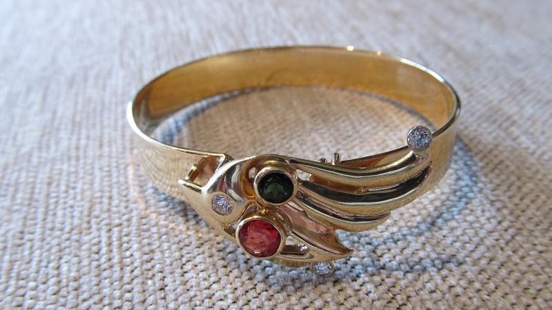 14k yellow gold cuff bracelet with orange sapphire, green tourmaline and diamonds