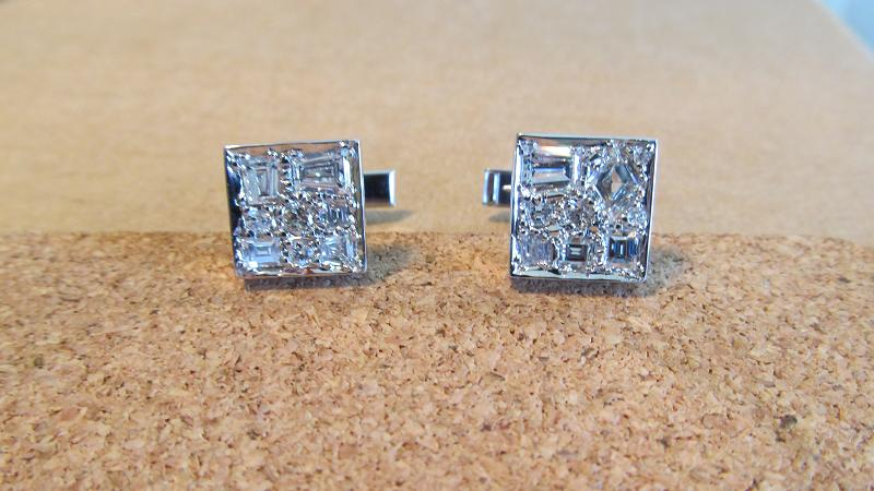Platinum and diamond cufflinks