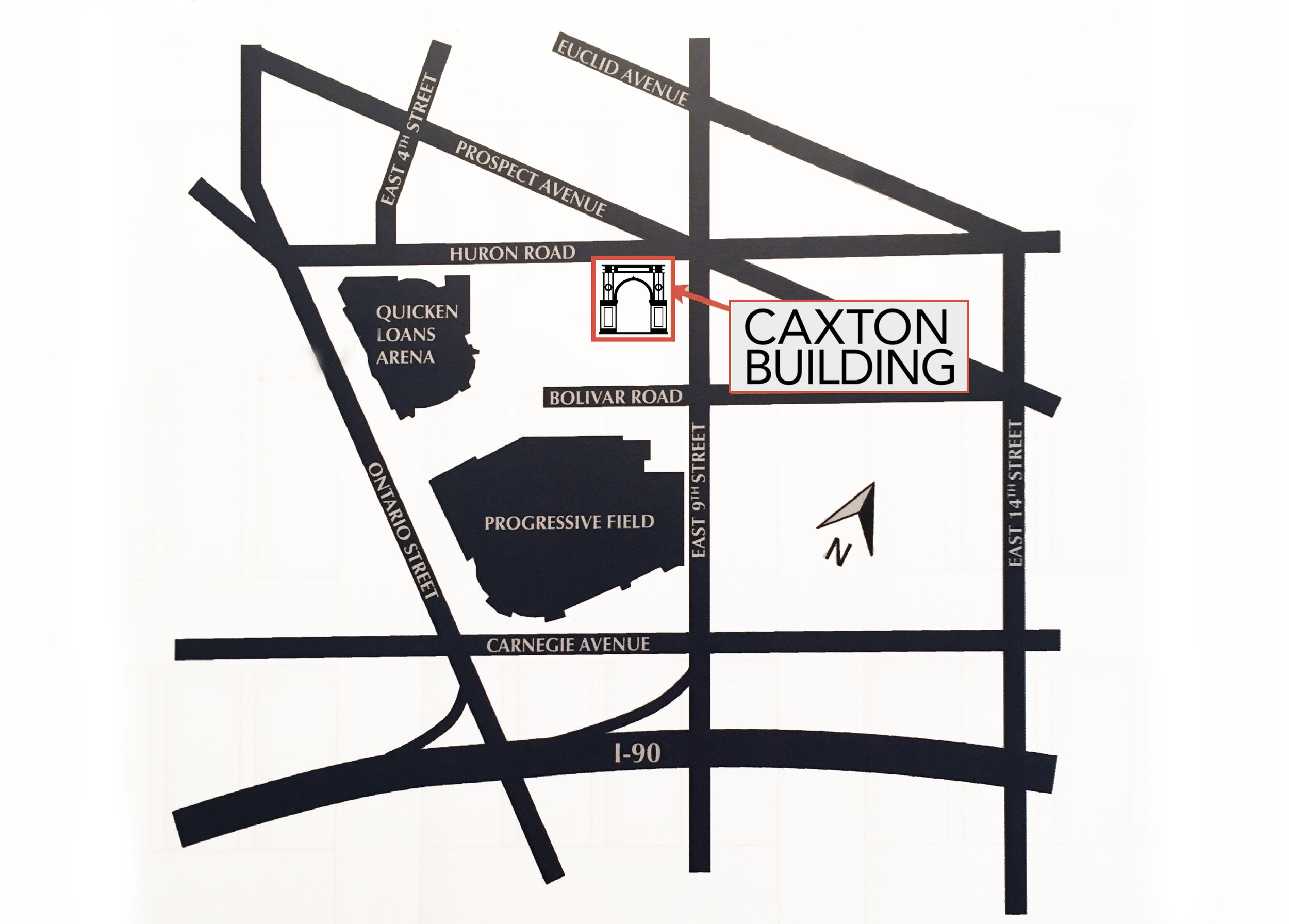 caxton building office location downtown cleveland map