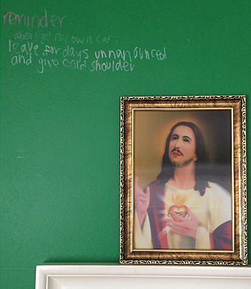 WWJD   Photograph of arranged mirror, Jesus portrait and wall reminder. Archival Digital Print.  2016  5:1