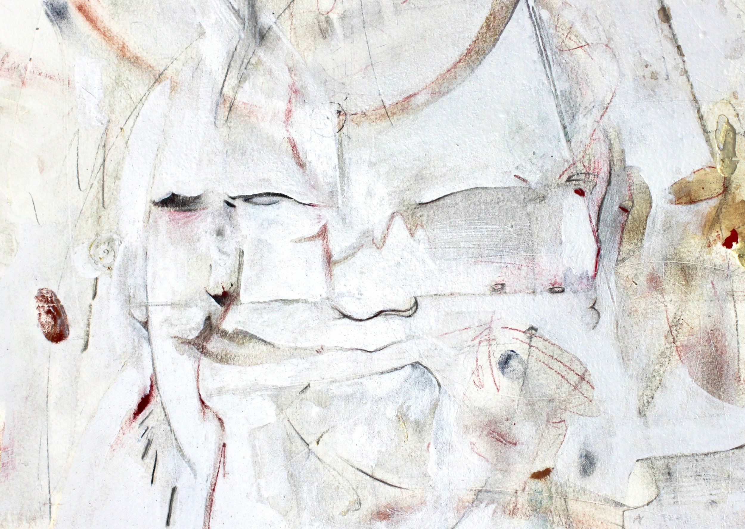"portrait II  white enamel on mixed media drawing on paper. 2017 5"" x 7"""