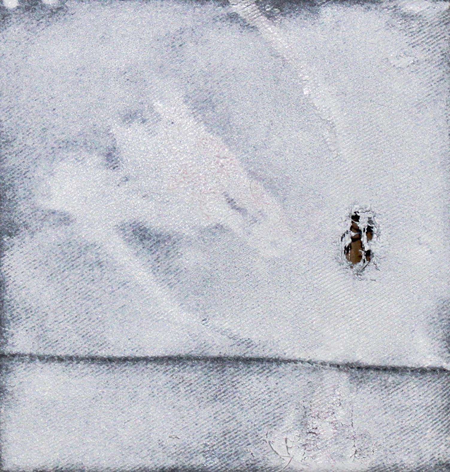 "Untitled I  White enamel on, mixed media on stretched studio Calvin's. 6"" x 6"""