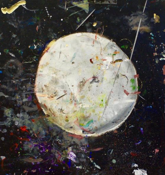 "MOON PAINTING ( 03.2016 - NY )  paint on Costco table  36 "" x 36 """