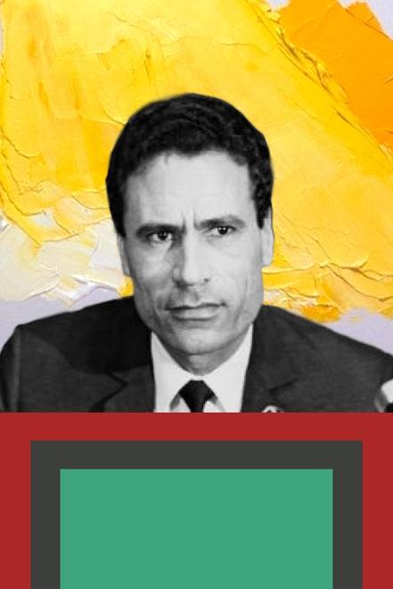 SORRY GADAFI Gadafi, gold paint, colorblocks digital collage. 2017 2:3
