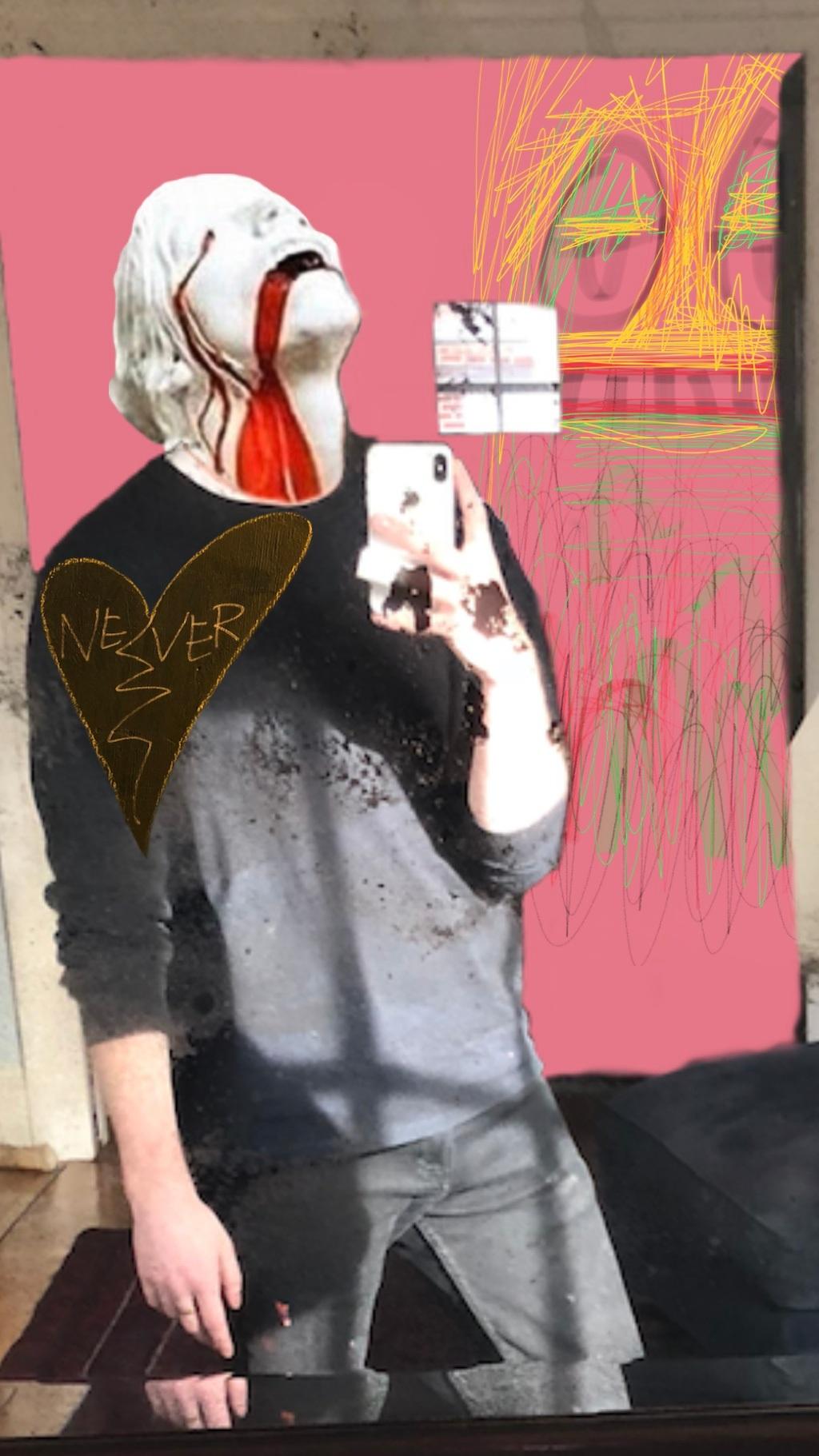 B-DAY selfie, MSPaint, & statue digital collage. 2019 9:16