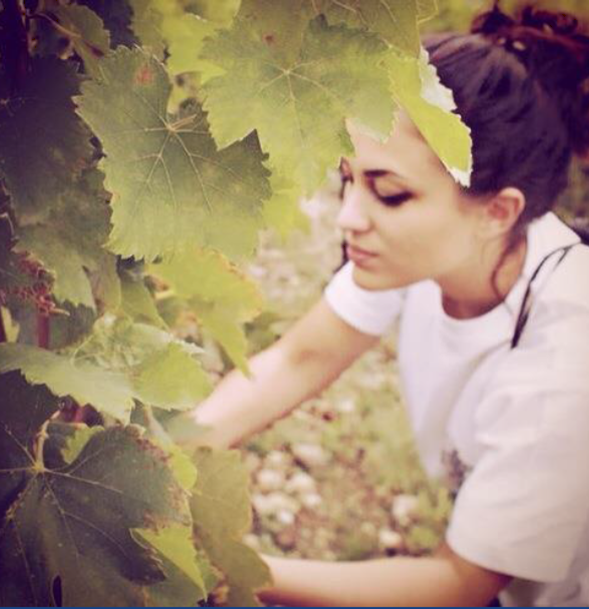 Mathilde Chapoutier in the vineyards of Chateau Des Ferrages