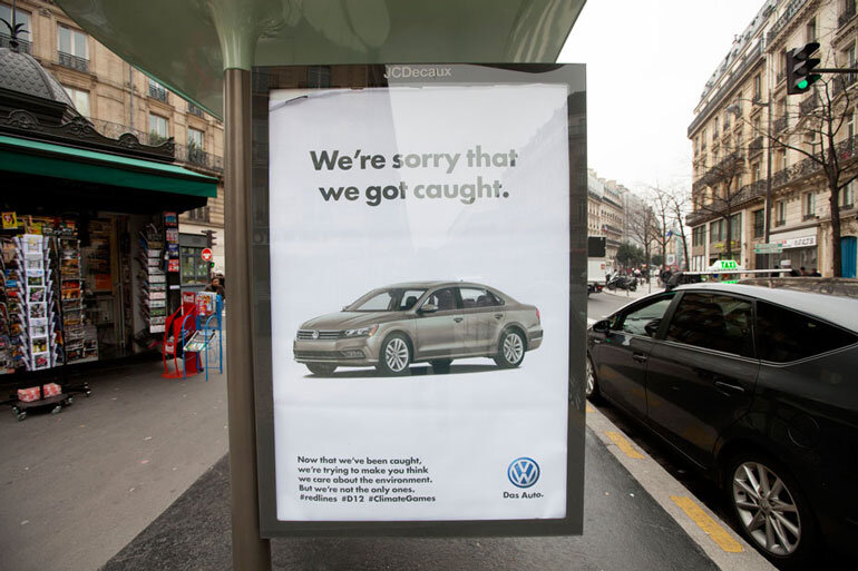A fake ad installed by the group Brandalism mocks Volkswagen for continuing to greenwash its messaging in the wake of its emissions scandal. Photo: Branbrook/Brandalism
