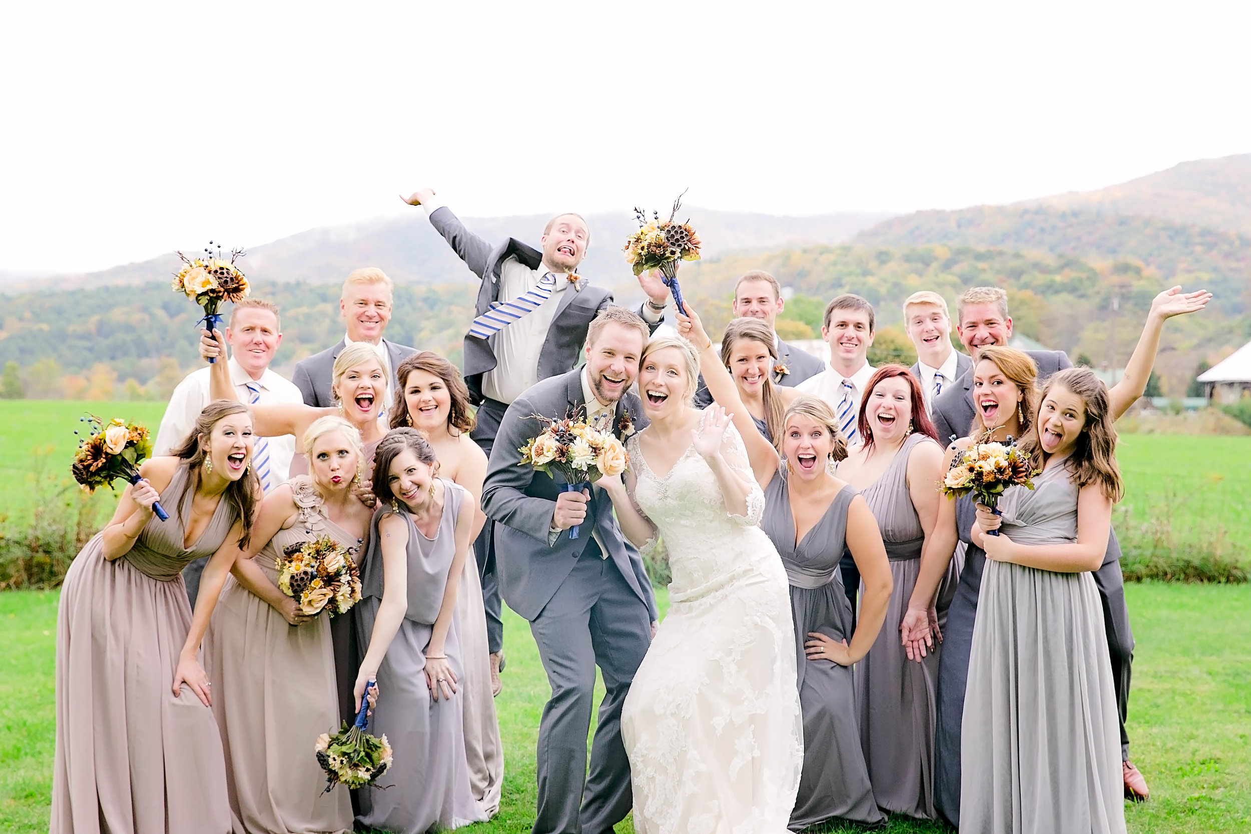 Wedding party, bridesmaids and groomsmen