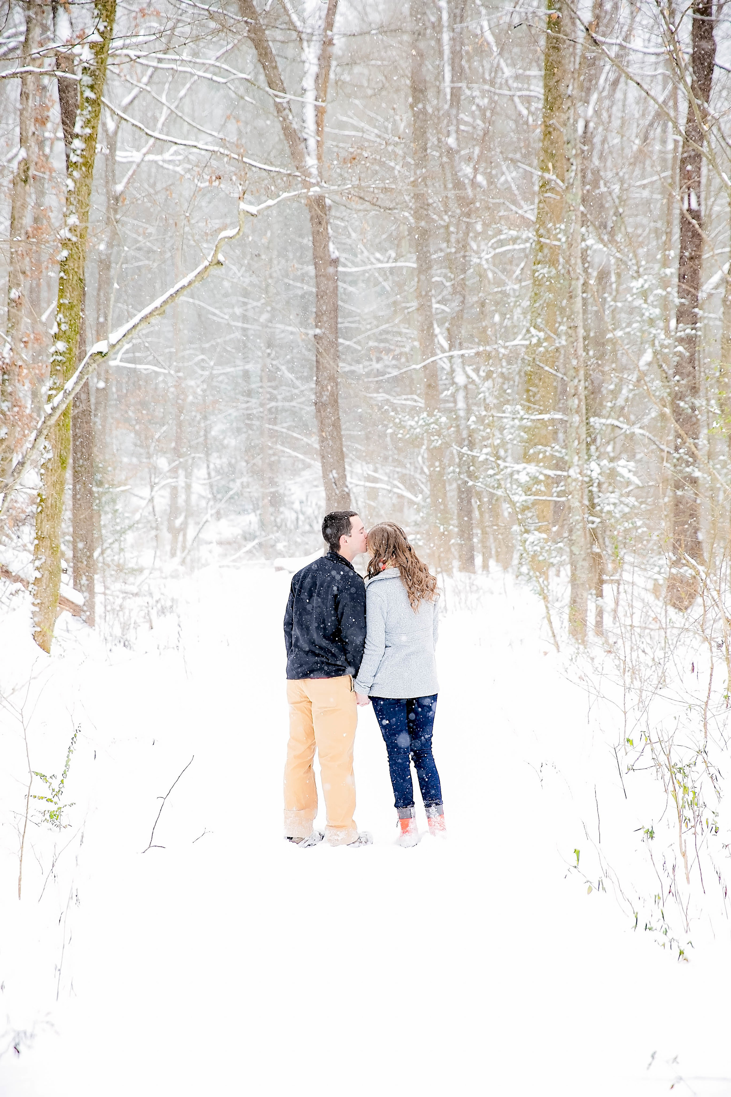 Laurel Falls snowy engagement