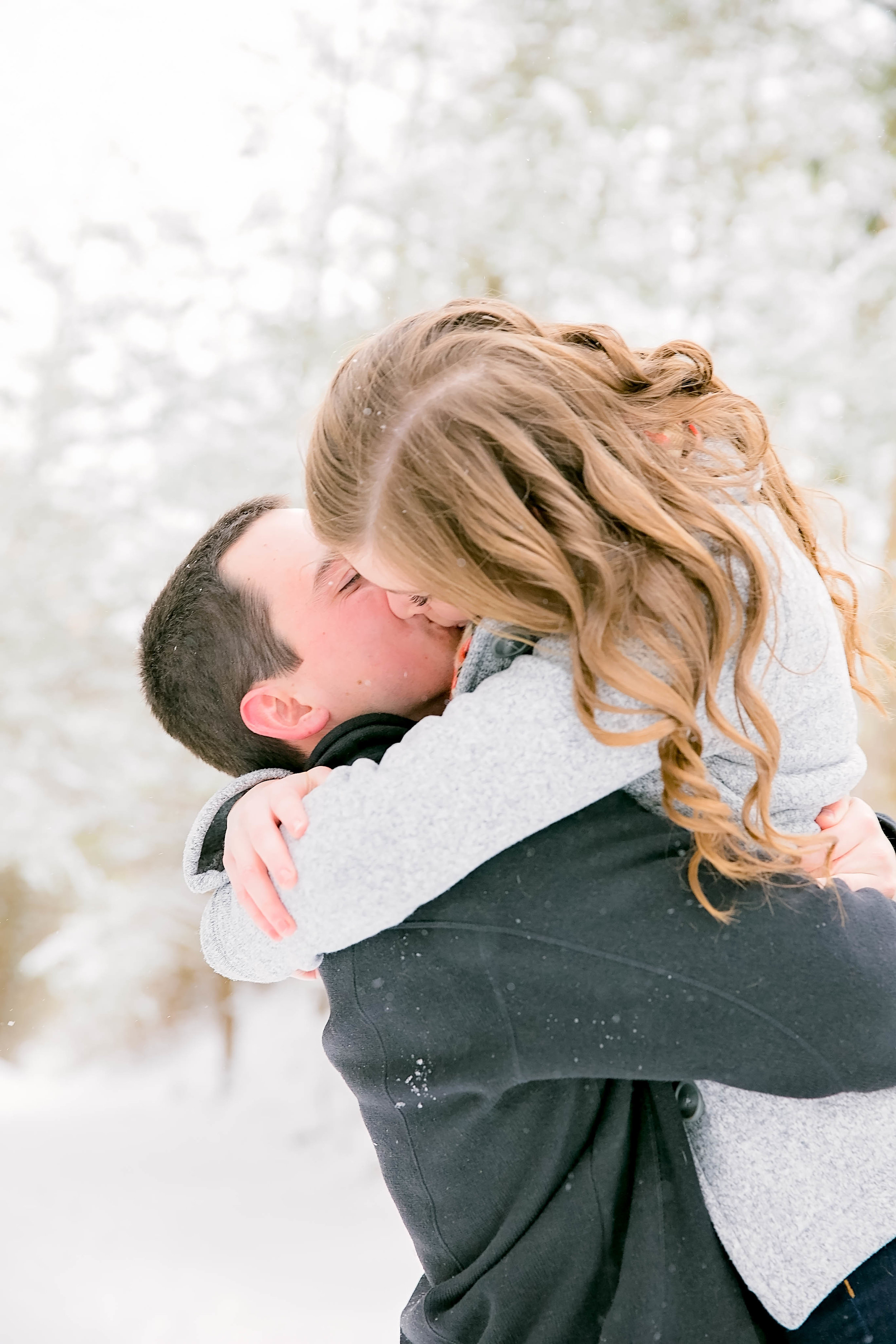 Snow engagement photo