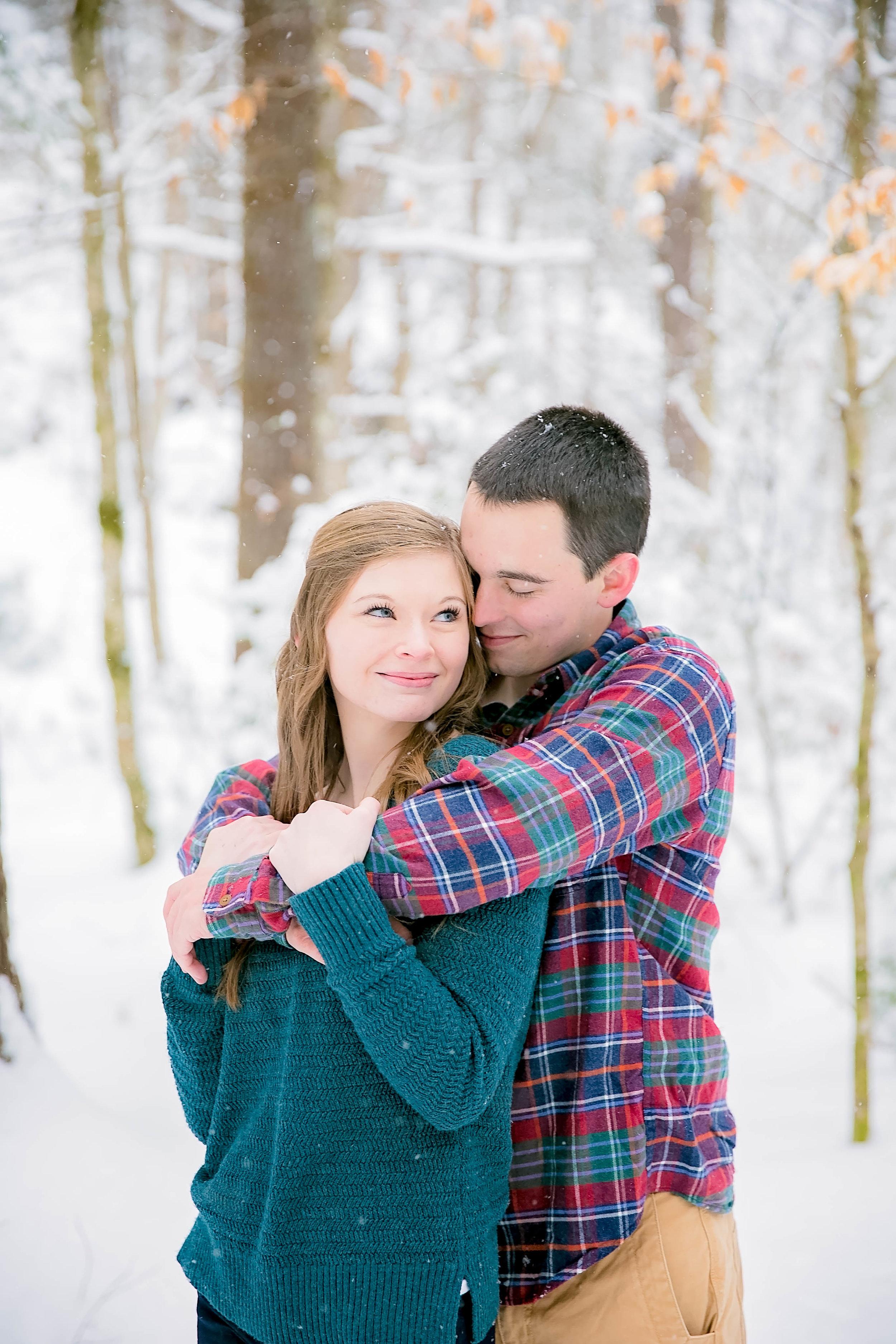 Couple in snow, Laurel Falls, TN