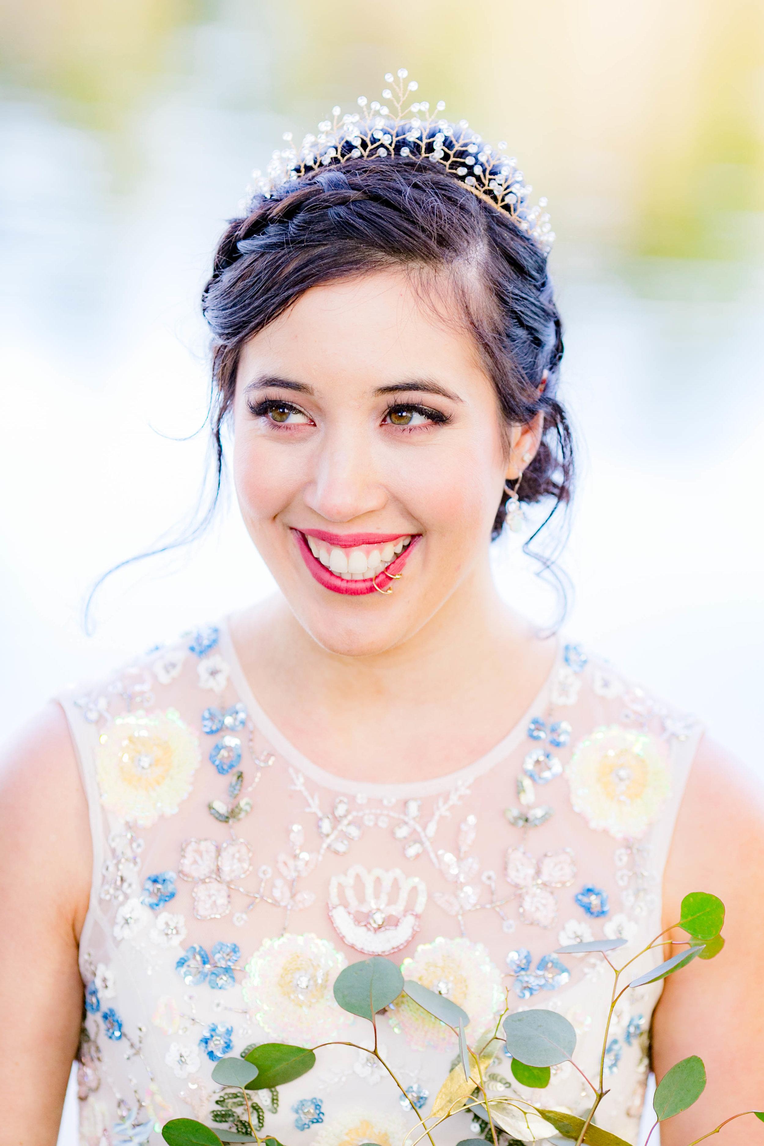 Bridal portrait, joyful bride
