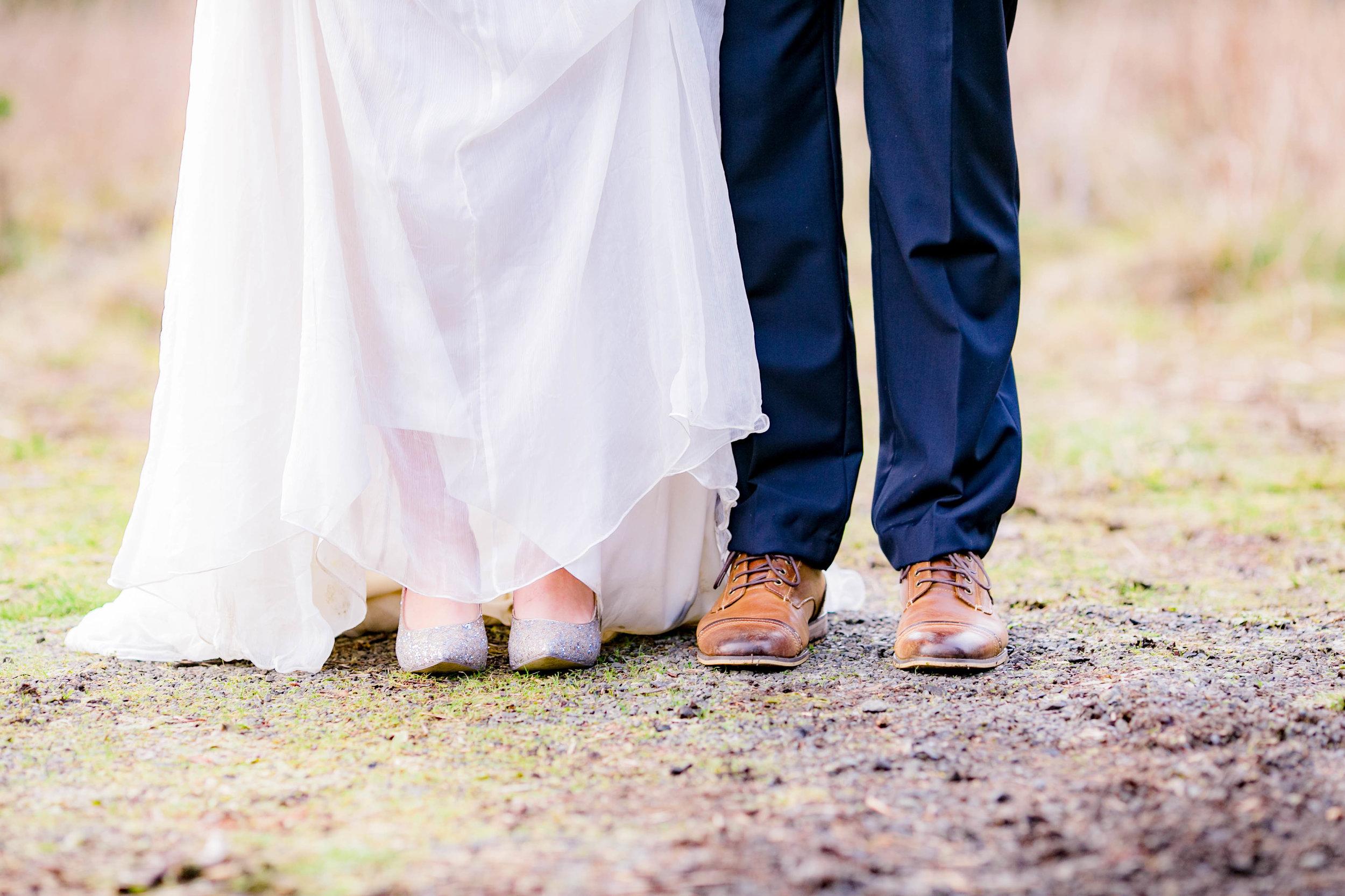 Bride and groom shoe shot