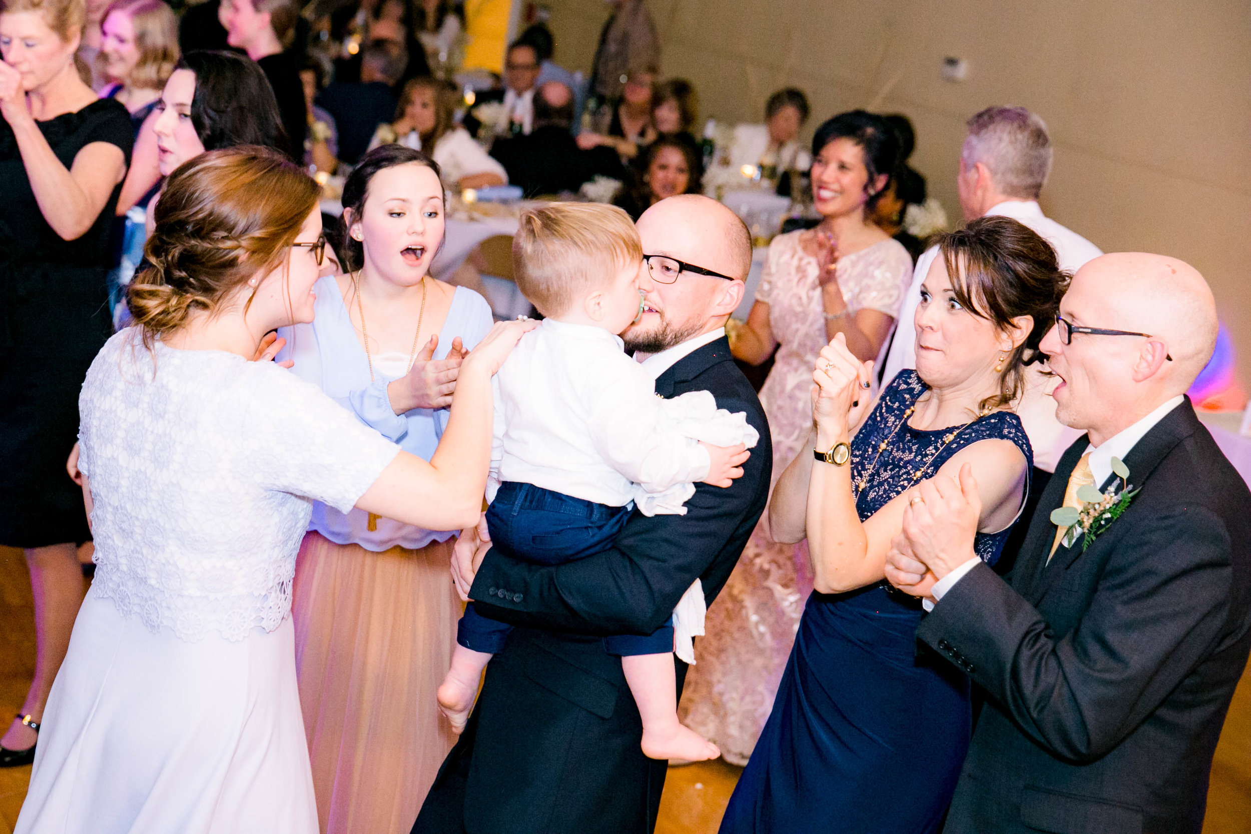 Wedding reception, dancing guests