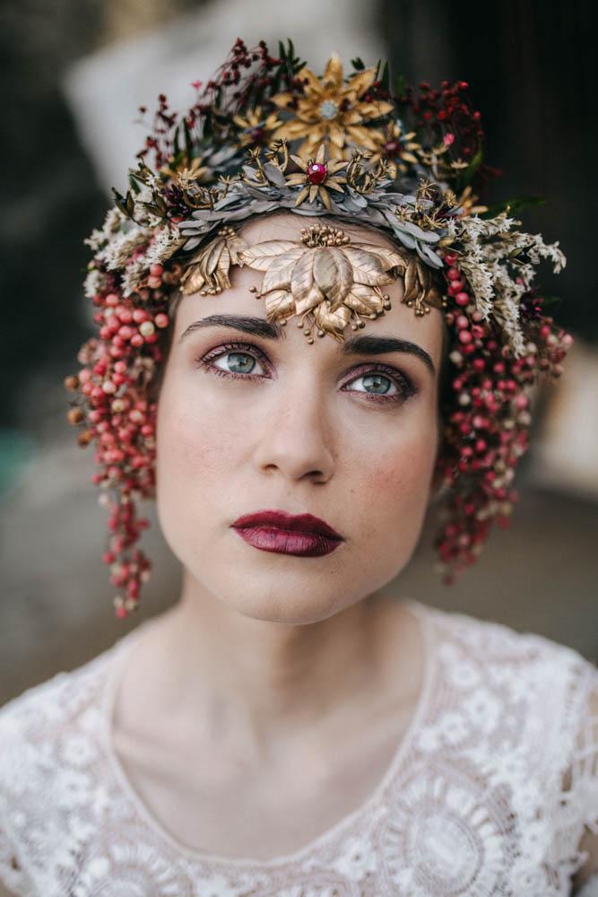 retrato de novia con tocado