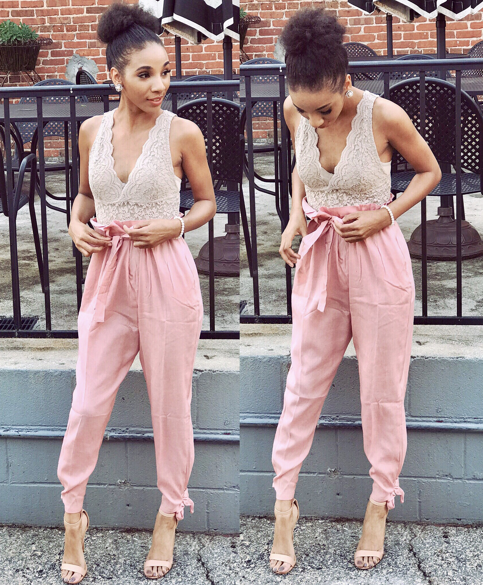 Baby Pink Woven Pants - Rainbow  Tan Laced V-Neck Bodysuit - Rainbow  Nude Ankle Strap Heels- Charlotte Russe